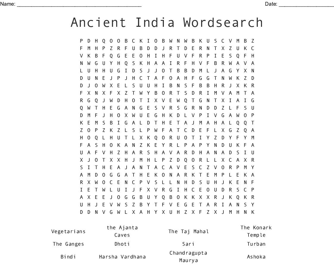 India Wordsearch - Wordmint
