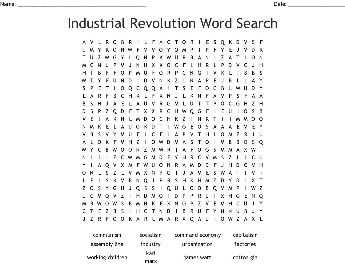 Industrial Revolution Word Search - Wordmint