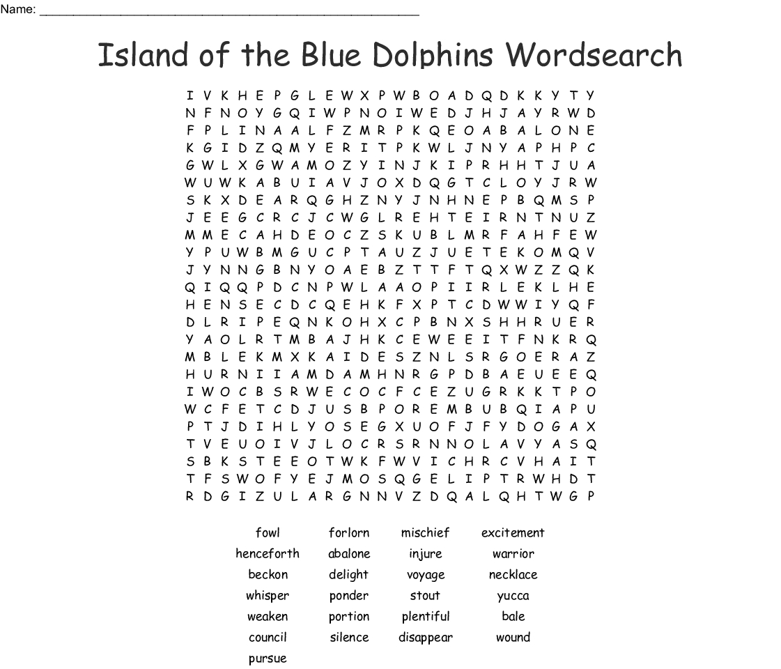 Island Of The Blue Dolphins Wordsearch - Wordmint