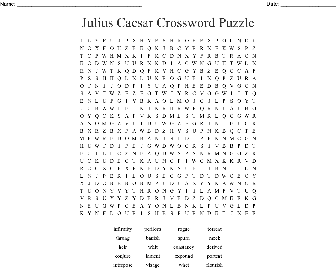 Julius Caesar Crossword Puzzle Word Search - Wordmint