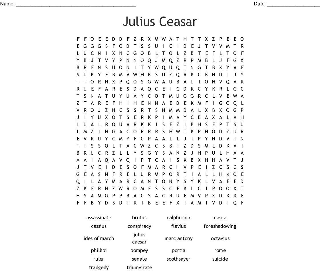 Julius Ceasar Word Search - Wordmint
