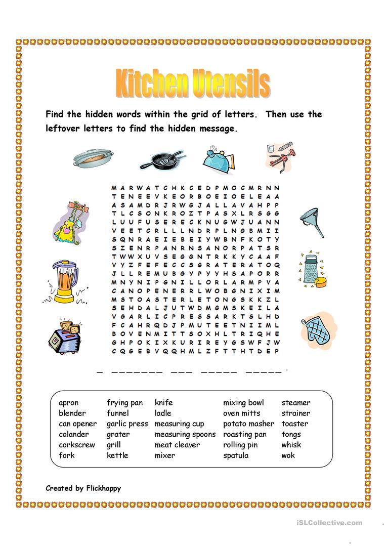 Kitchen Utensils Wordsearch - English Esl Worksheets For