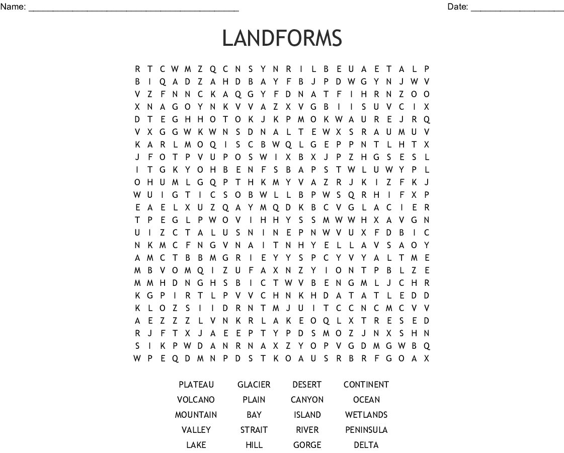 Landforms Word Search - Wordmint