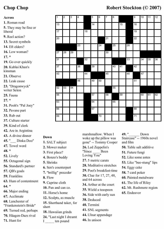 Large Print Crossword Puzzles Printable | Printable