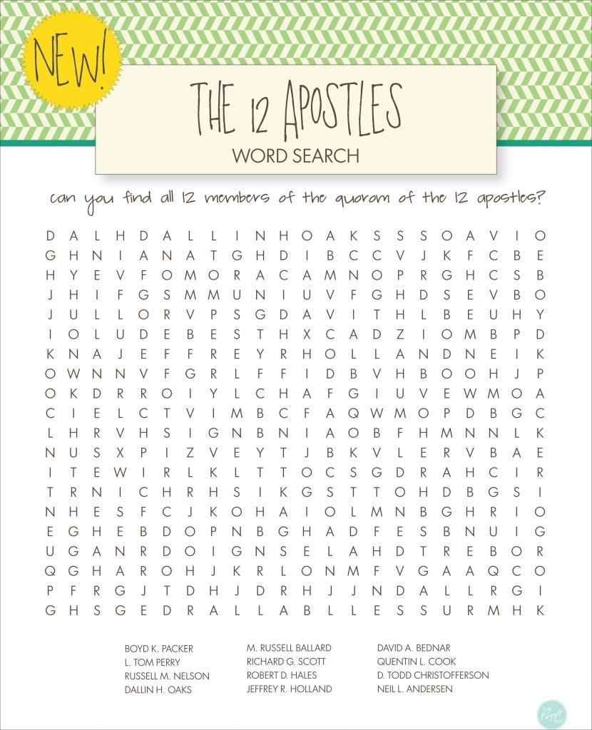 Lds Word Searches For Kids - Free Printables | General