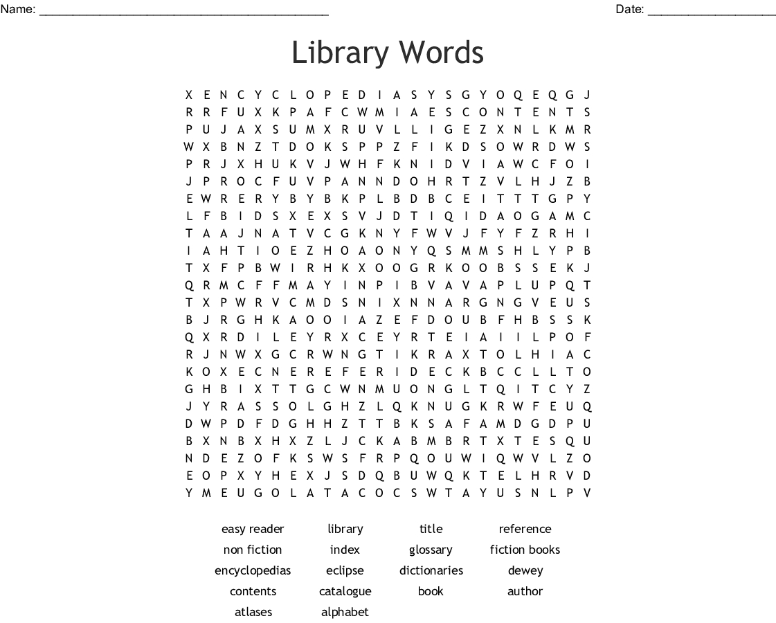 Library Words Word Search - Wordmint