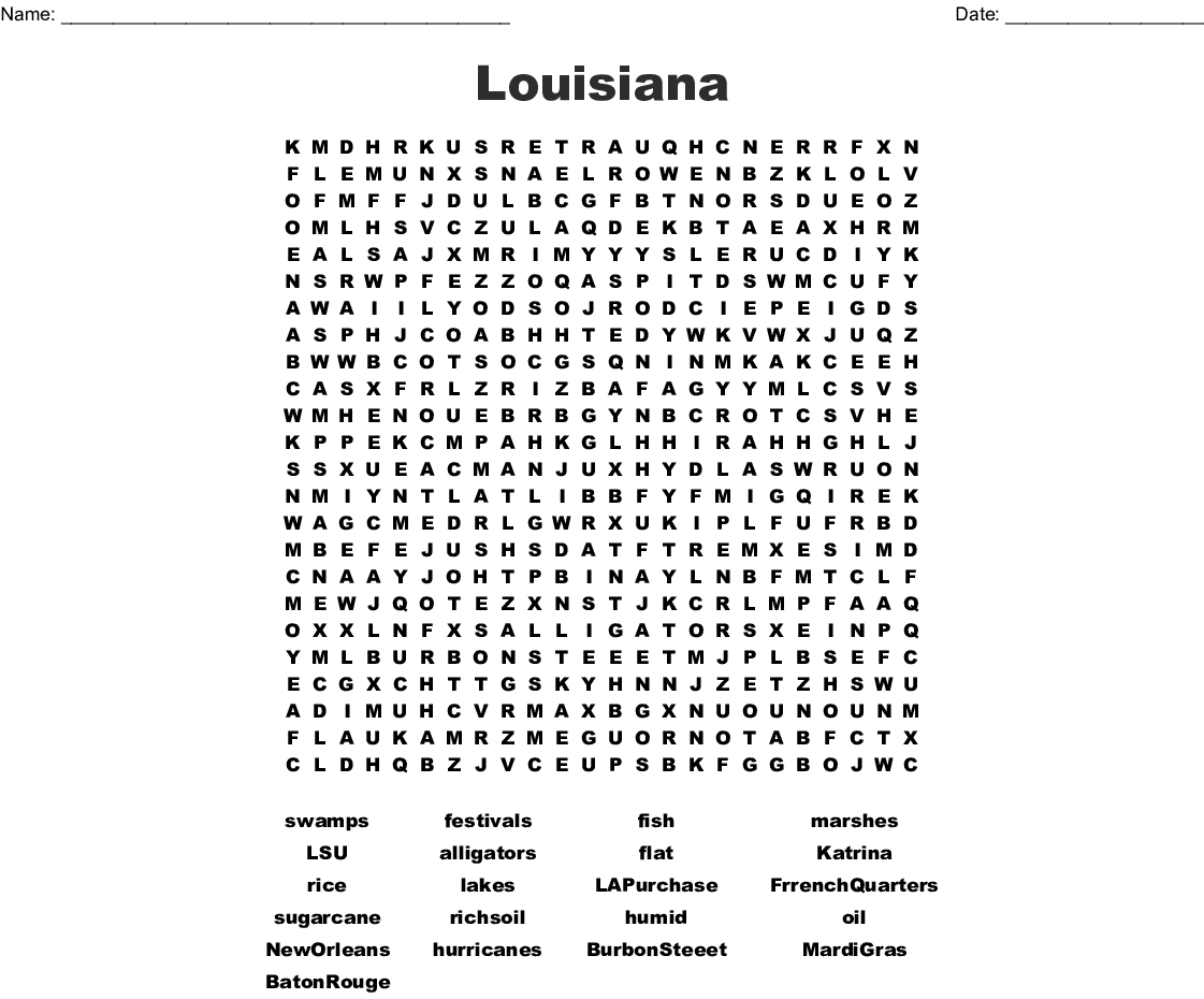 Louisiana Word Search - Wordmint