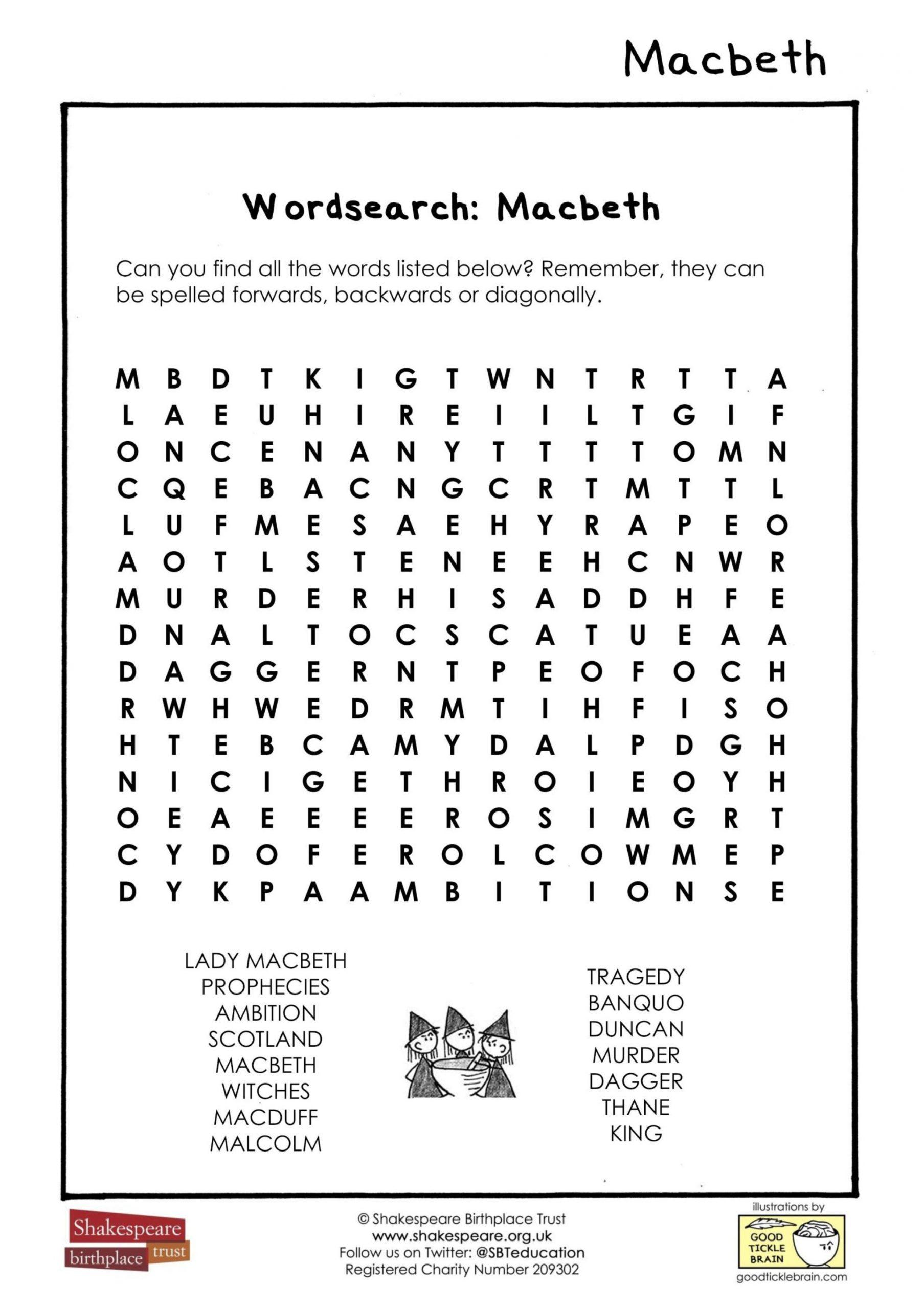 Macbeth Wordsearch