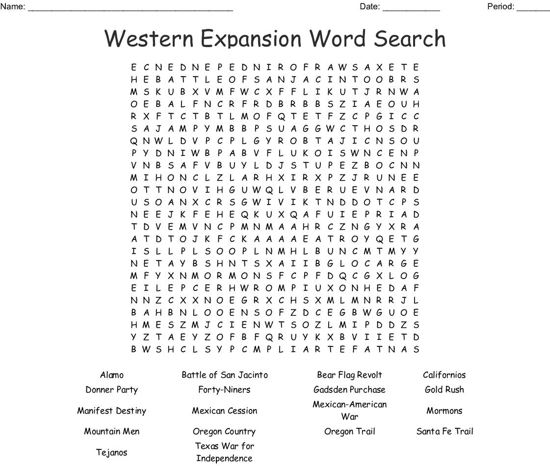 Manifest Destiny - Westward Expansion Word Search - Wordmint