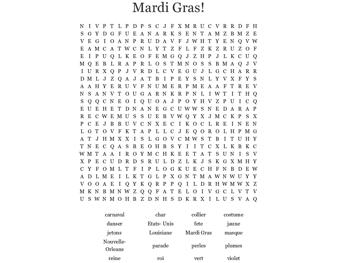 Mardi Gras! Word Search - Wordmint