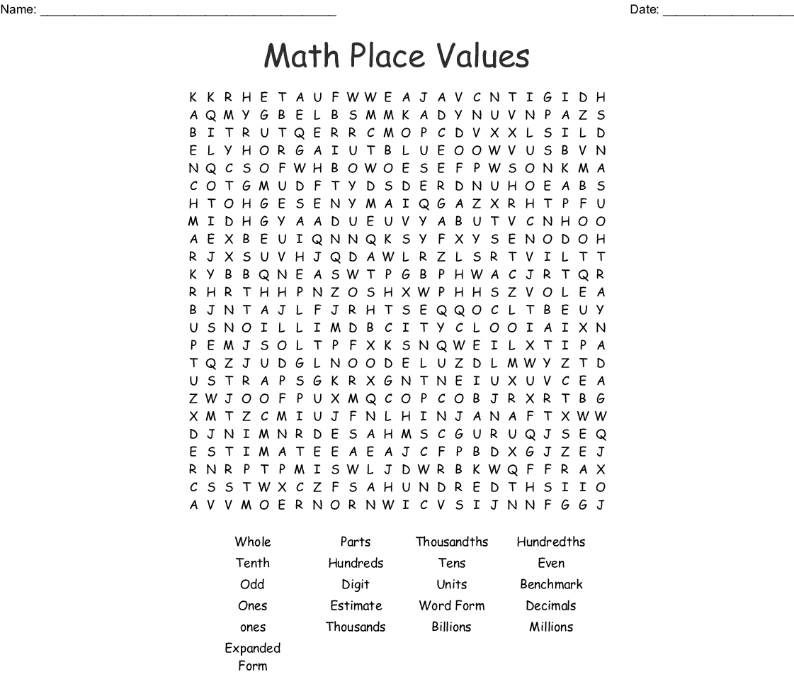 Math Place Values Word Search - Wordmint
