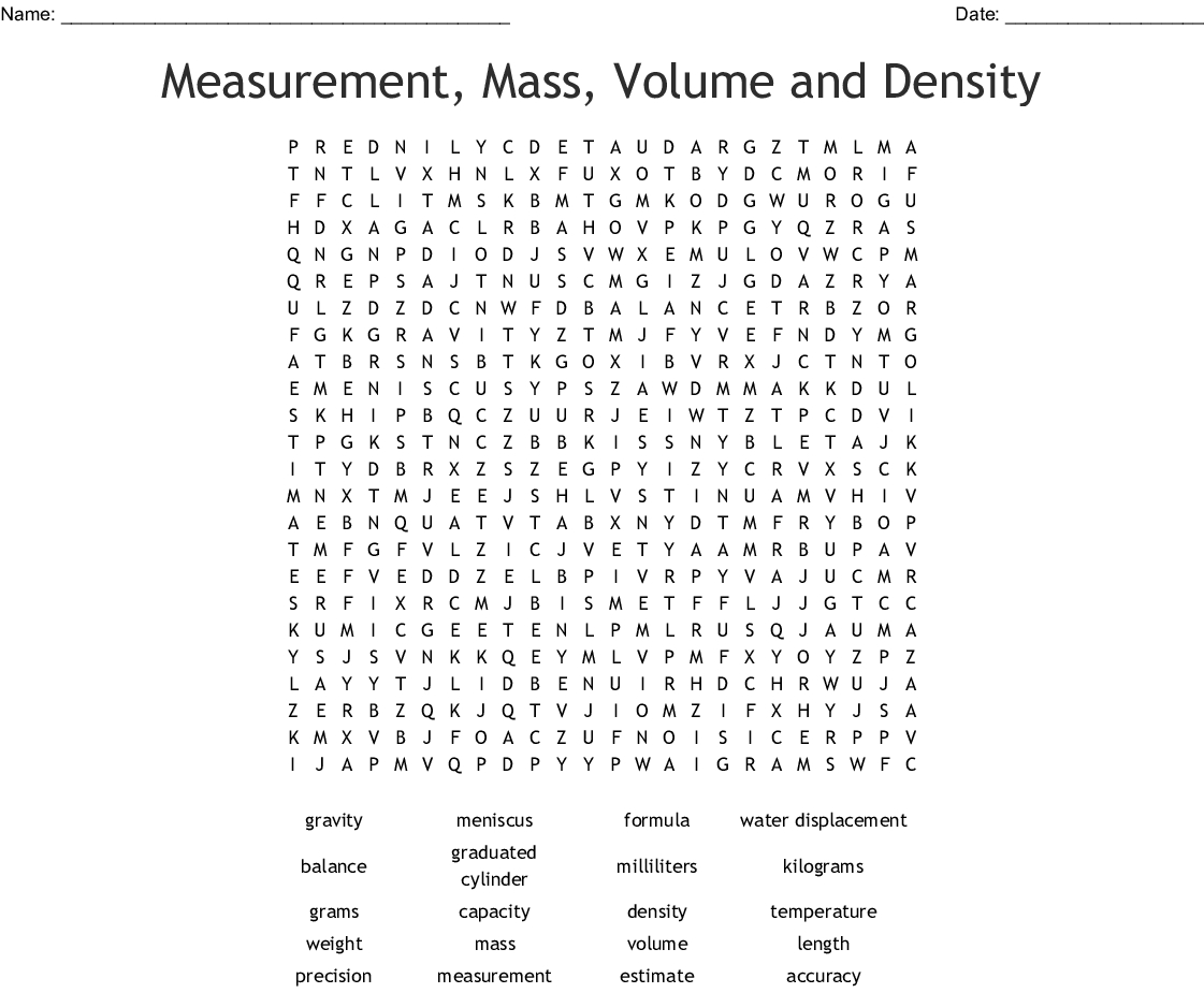 Measurement, Mass, Volume And Density Word Search - Wordmint