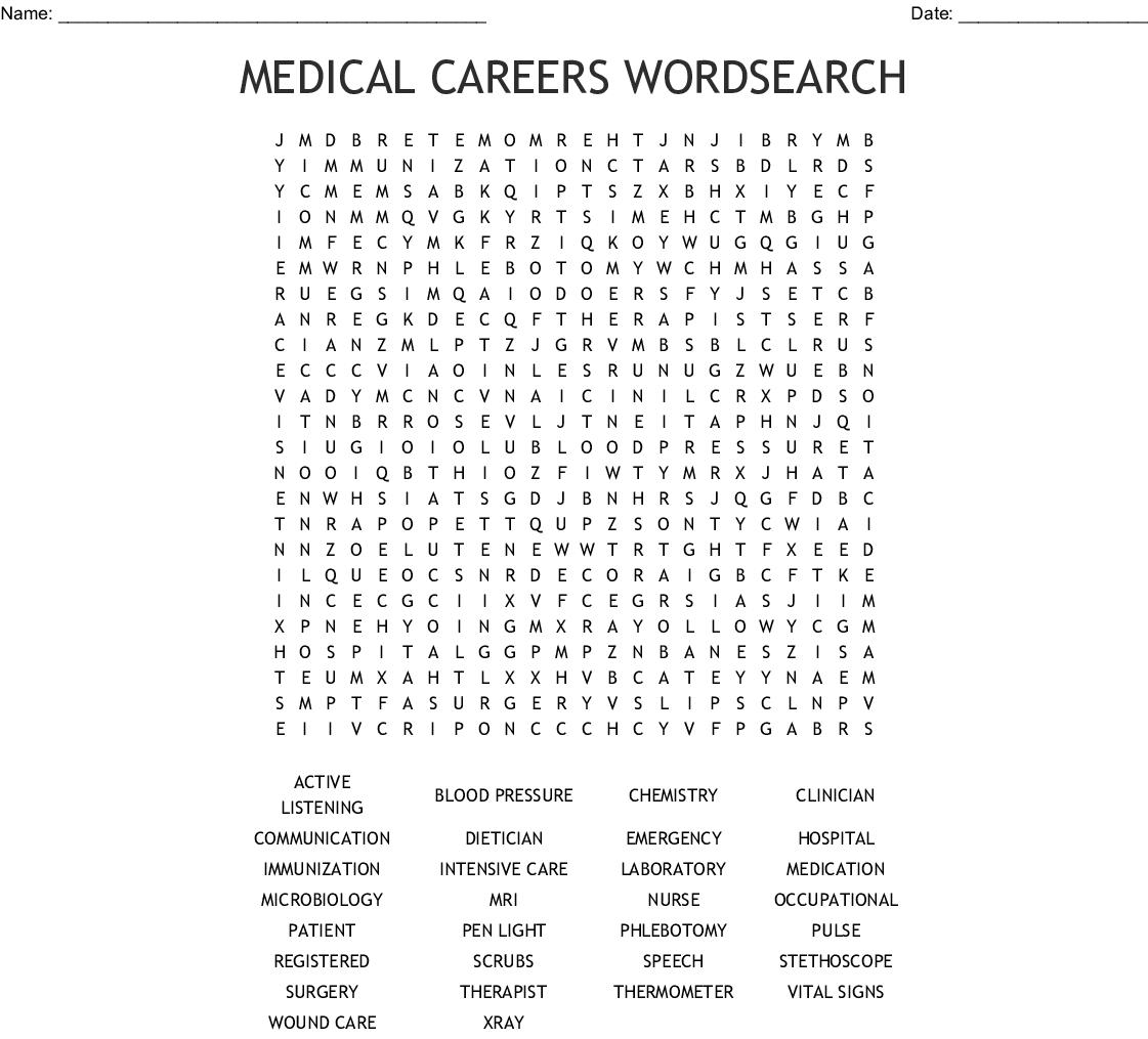 Medical Careers Wordsearch - Wordmint