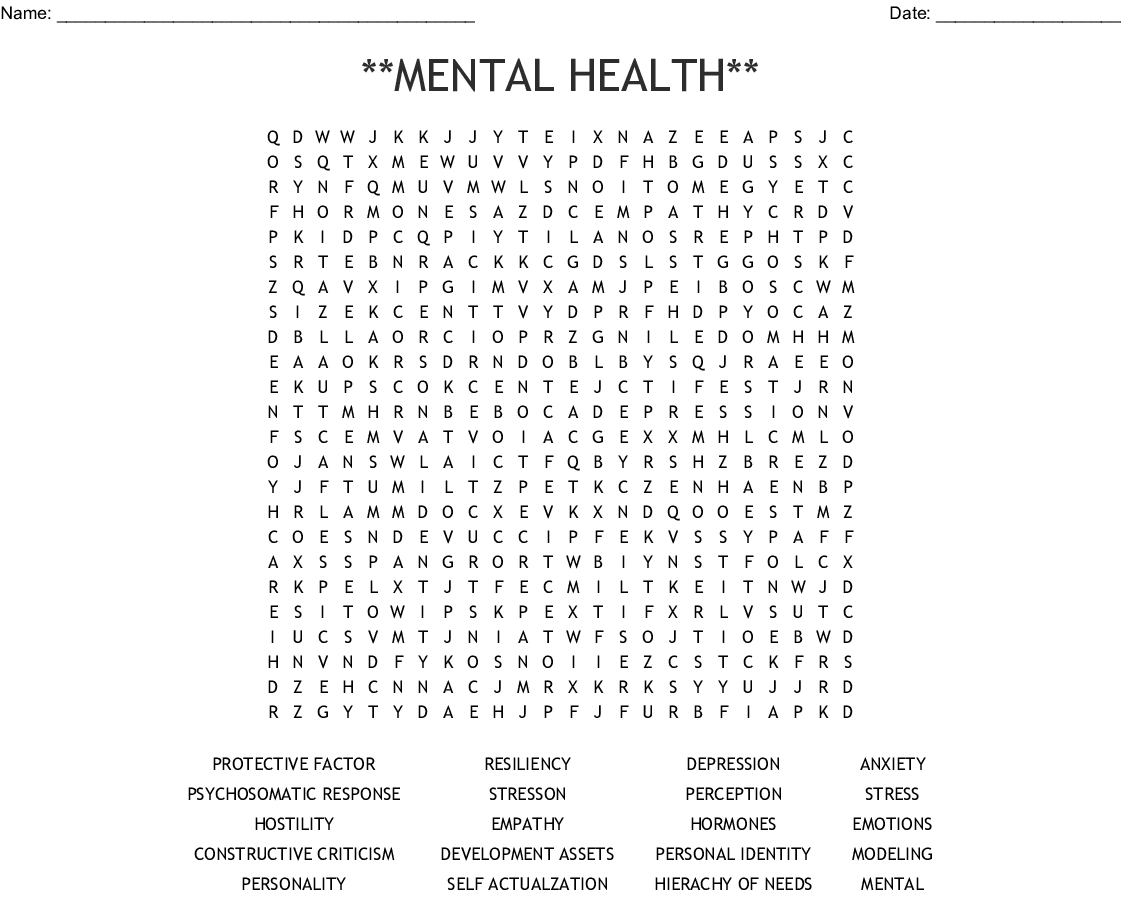 Mental Health** Word Search - Wordmint