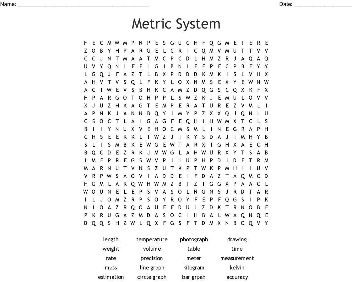 Metric System Word Search - Wordmint