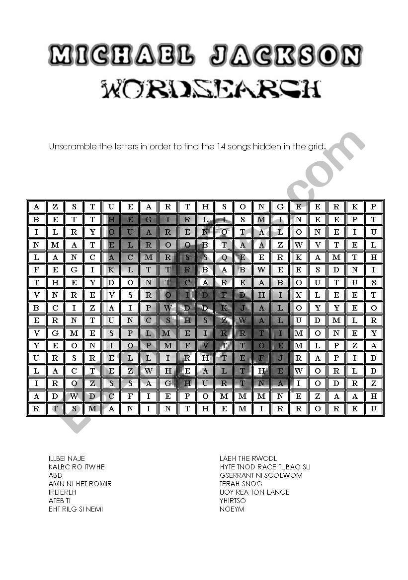 Michael Jackson Wordsearch - Esl Worksheetpricess
