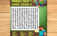 Minecraft Word Search Party Activity Green Blocks