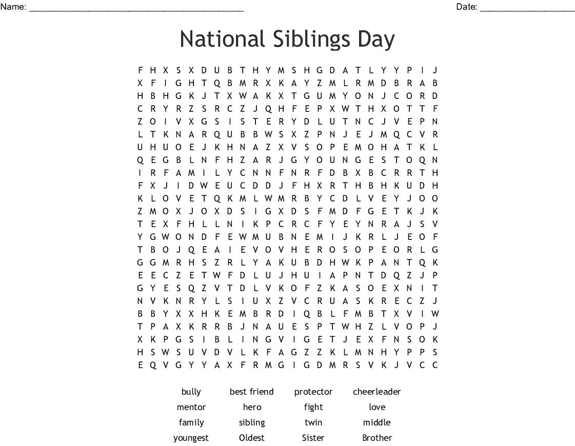 National Siblings Day Word Search - Wordmint