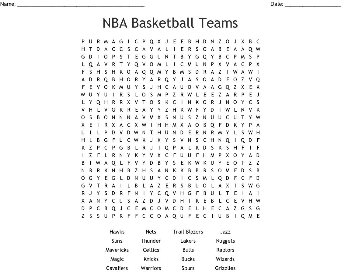 Nba Basketball Teams Word Search - Wordmint