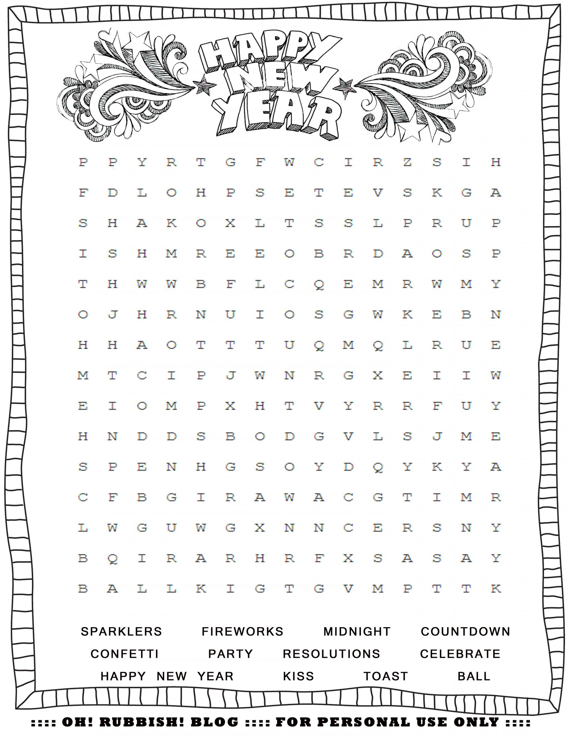 New Year's Printable Activities :: Entertain Your Kids