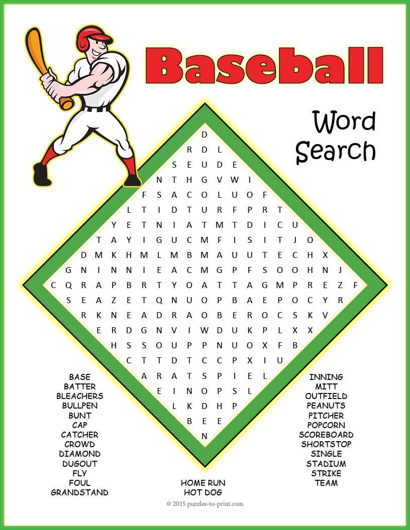 No Prep Baseball Word Search Puzzle | Baseball Activities