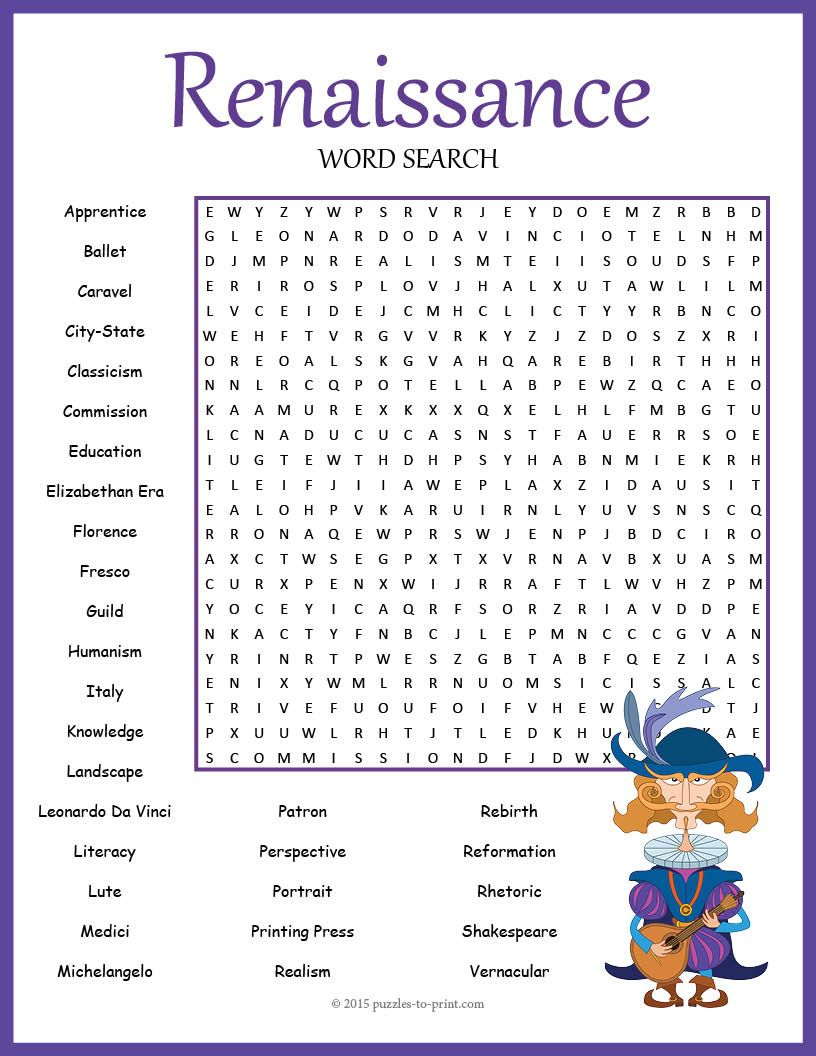 No Prep Renaissance Word Search Puzzle | Learning Italian