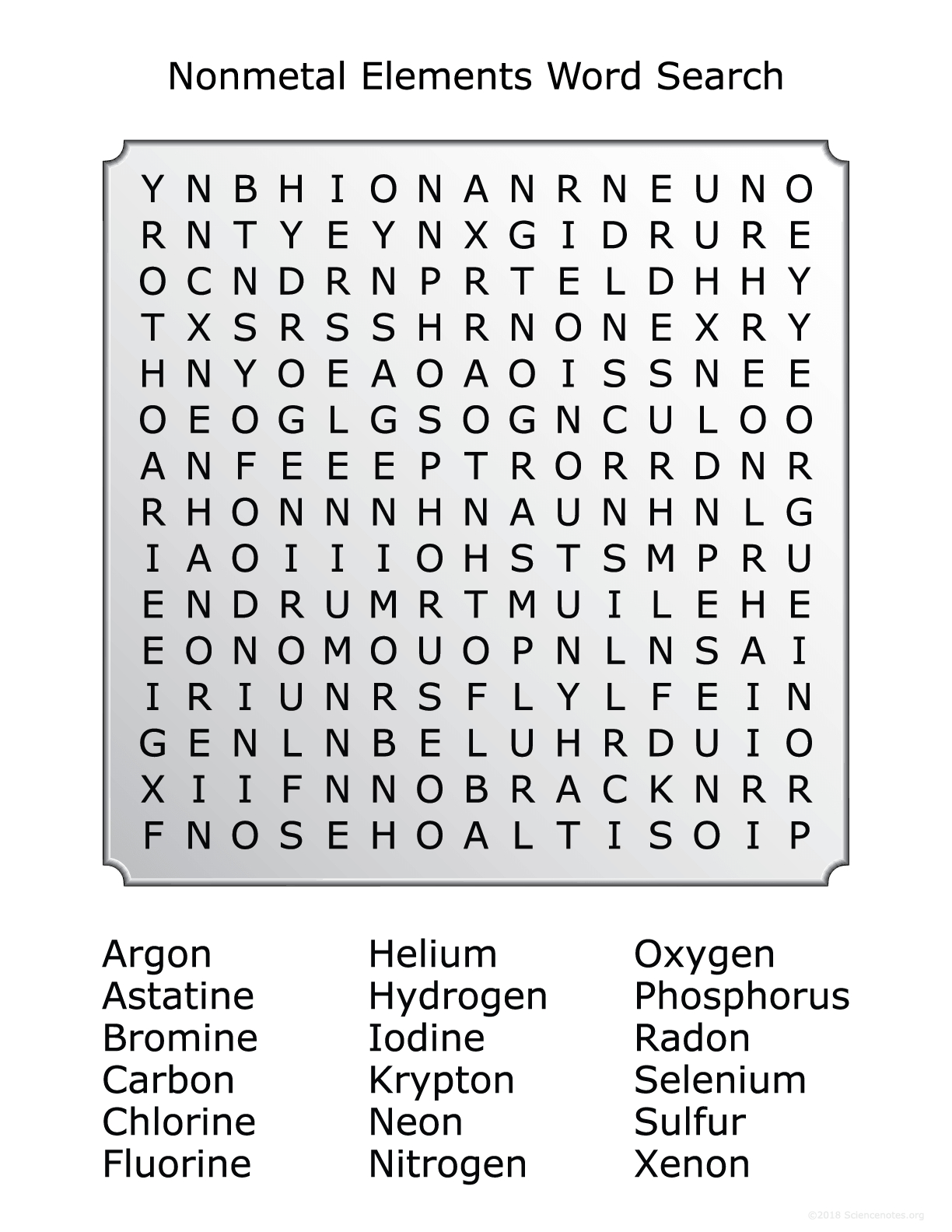 Nonmetals Word Search Puzzle