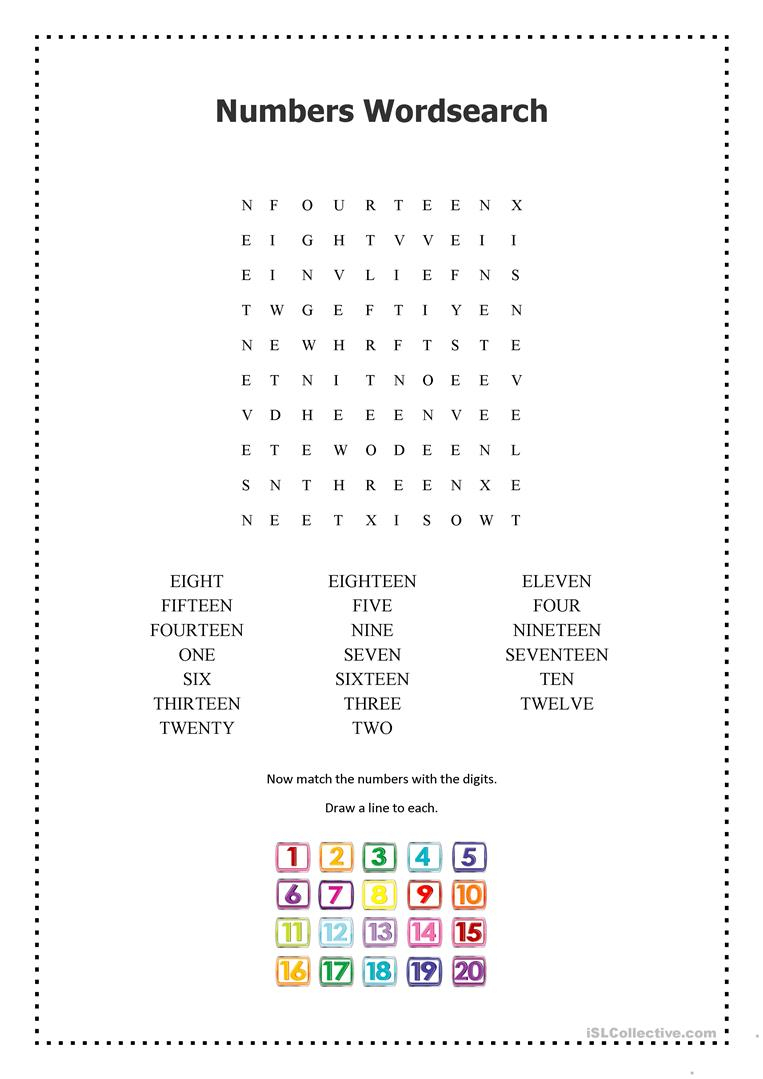 Numbers 1-20 Wordsearch - English Esl Worksheets For