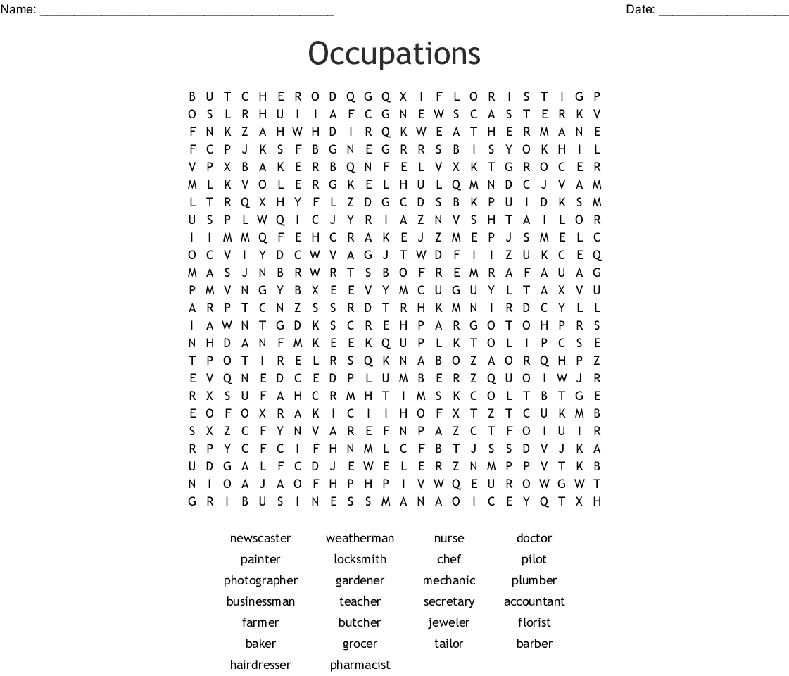 Occupations Word Search - Wordmint