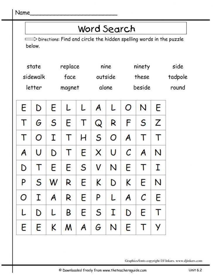 2nd Grade Word Search Printable