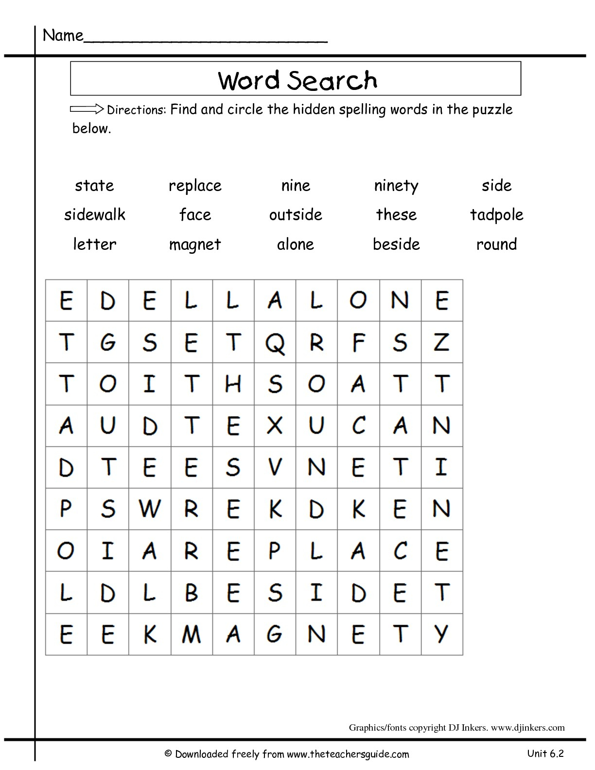 Peaceful 2Nd Grade Word Search Printable | Katrina Blog