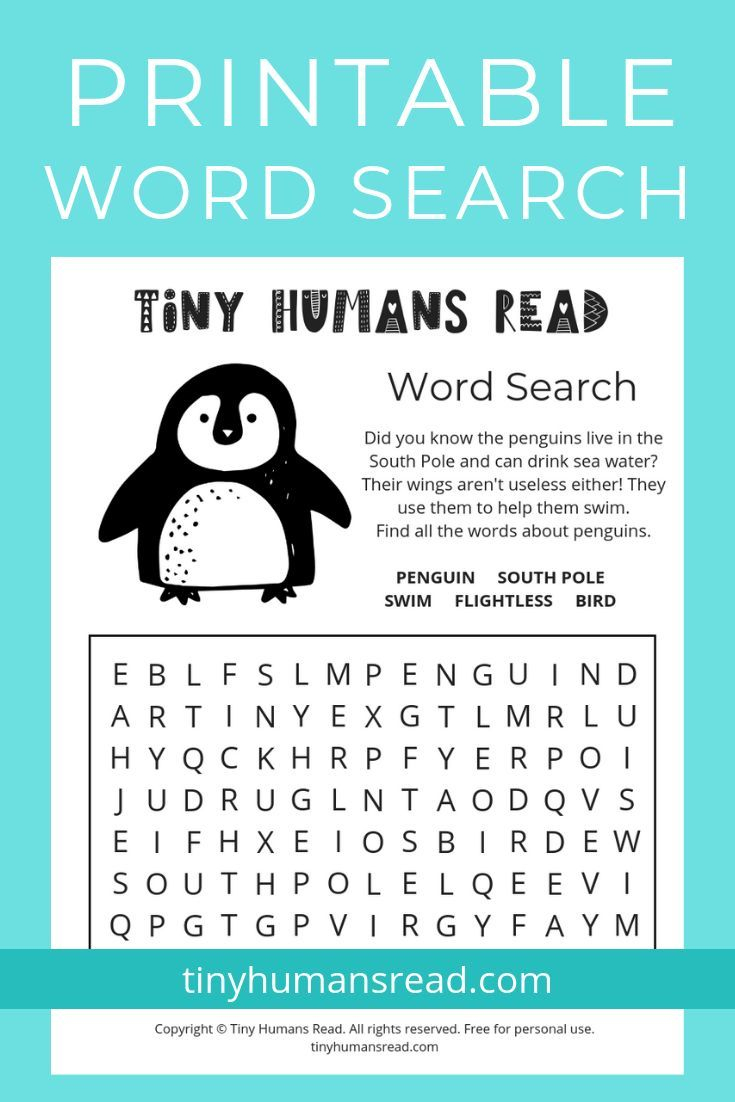 Penguin Facts Word Search Printable For Kids! Download And