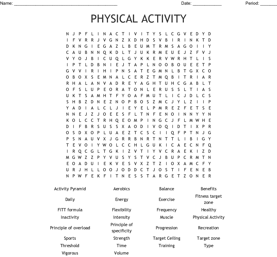 Physical Activity Word Search - Wordmint
