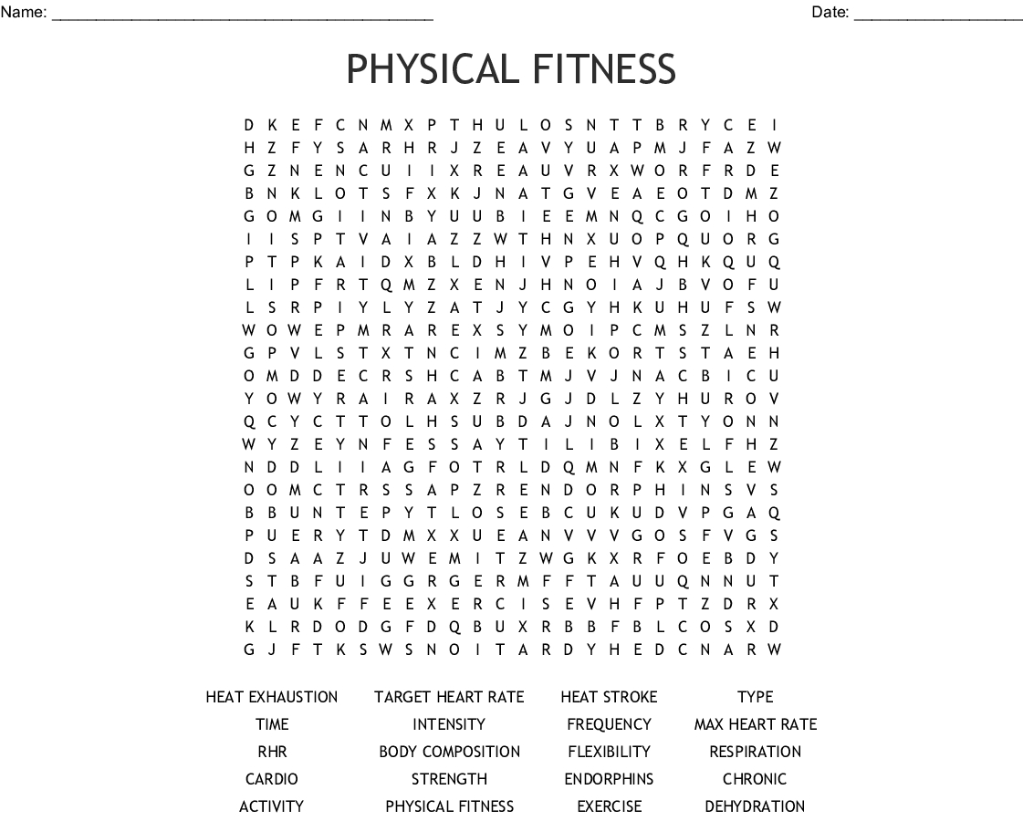 Physical Fitness Word Search - Wordmint
