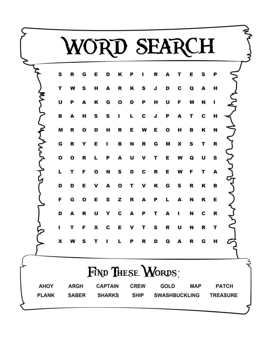 Pirates Voyage Activity Sheet - Word Search | Pirate Words