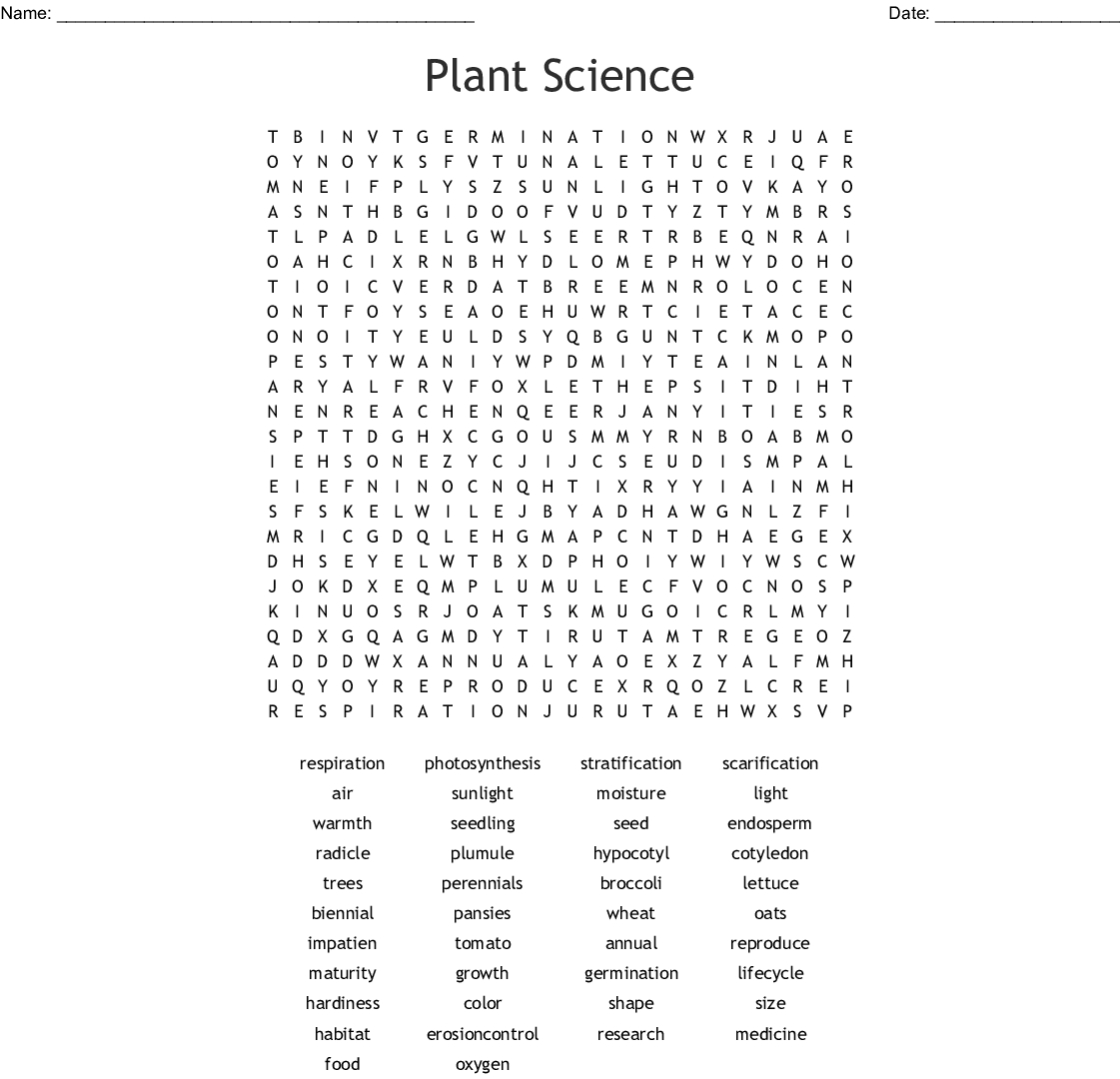 Plant Science Word Search - Wordmint