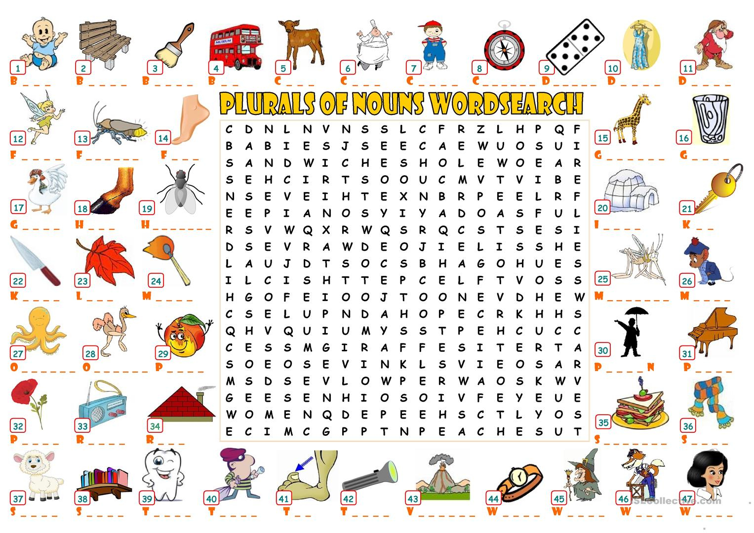 Plurals Of Nouns - Wordsearch - English Esl Worksheets For