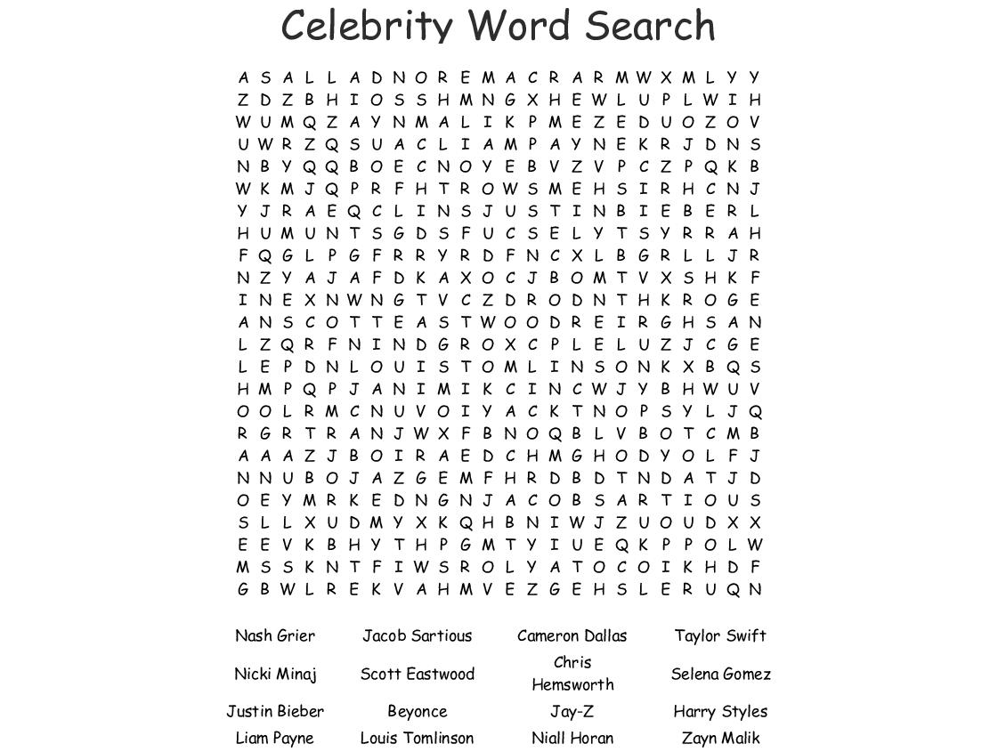 Pop Stars Word Search - Wordmint