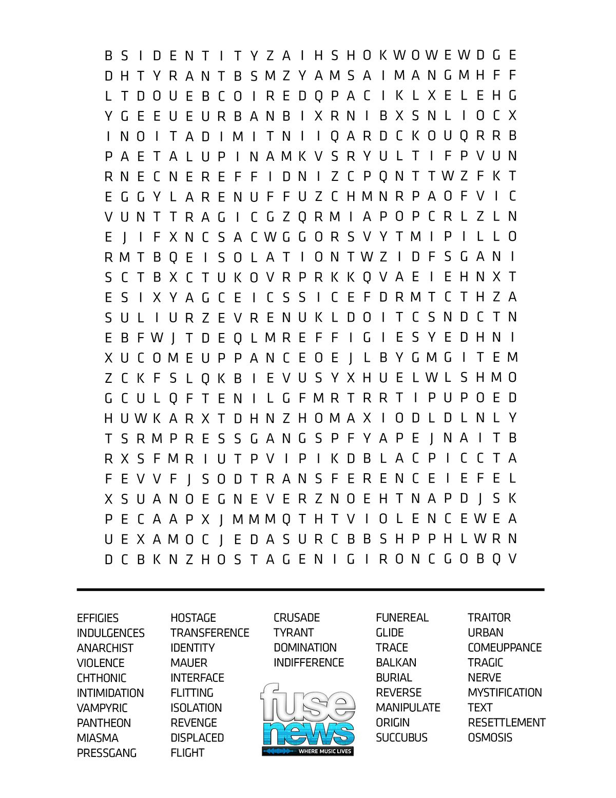 Print And Play The David Bowie Album Word Search Game