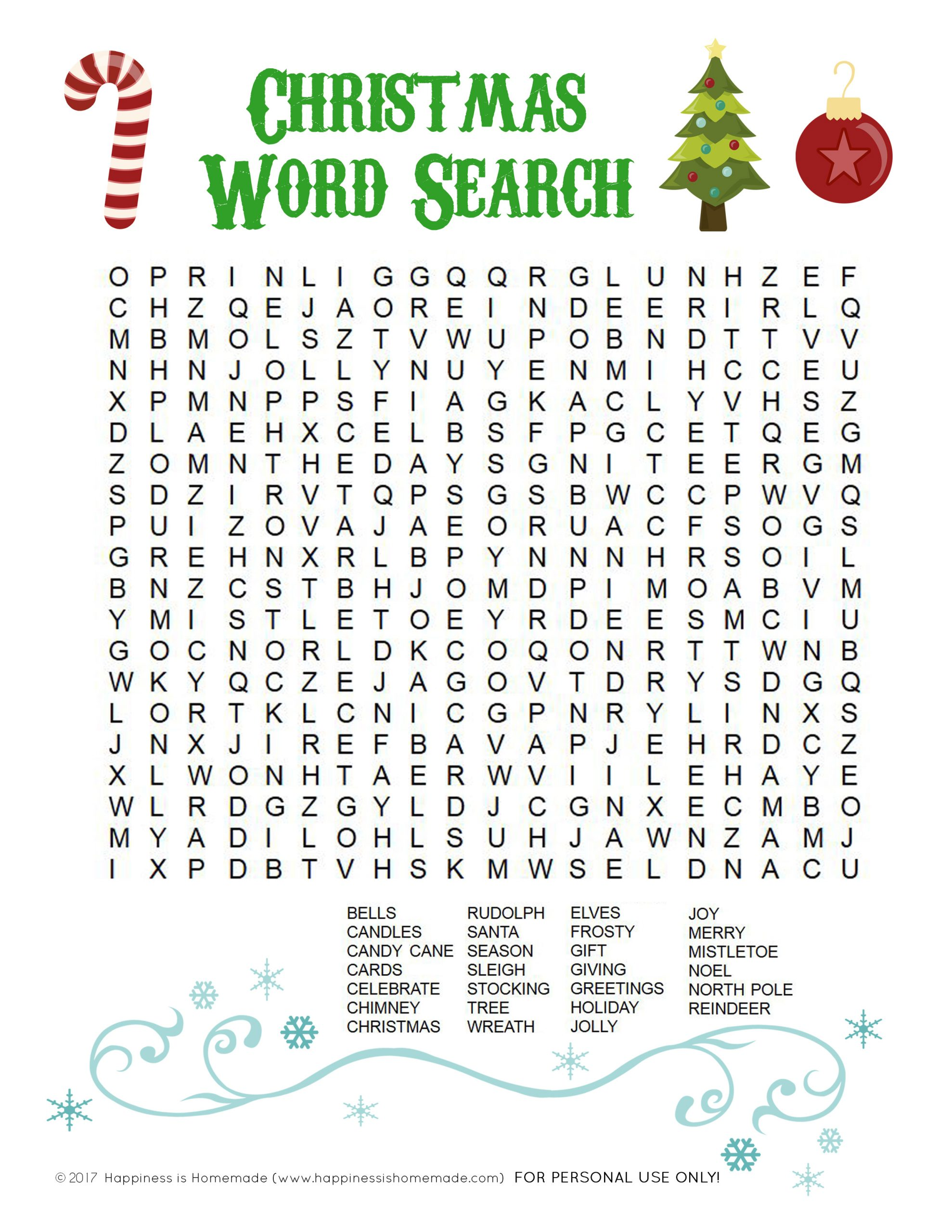 Printable Christmas Word Search For Kids & Adults