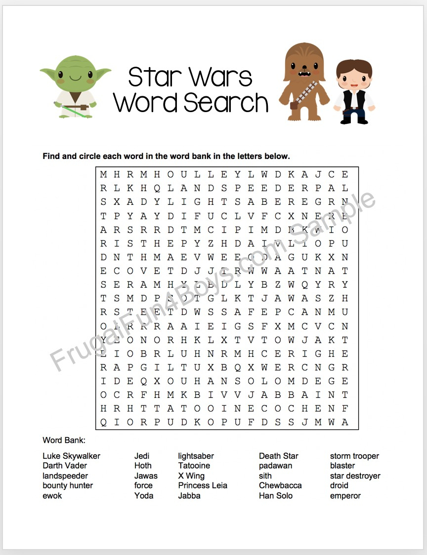 Printable Star Wars Word Search - Frugal Fun For Boys And Girls