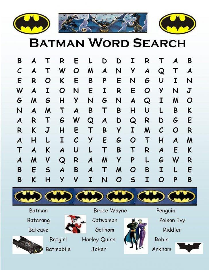 Batman Word Search Printable