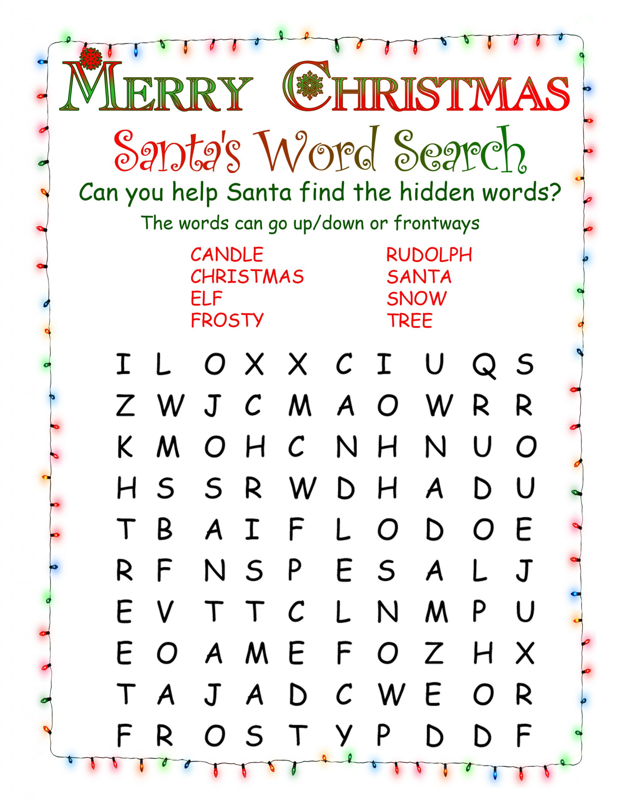 Printable Word Searches | North Pole News