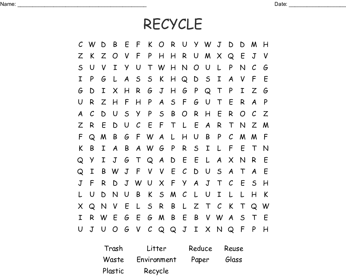 Recycle Word Search - Wordmint
