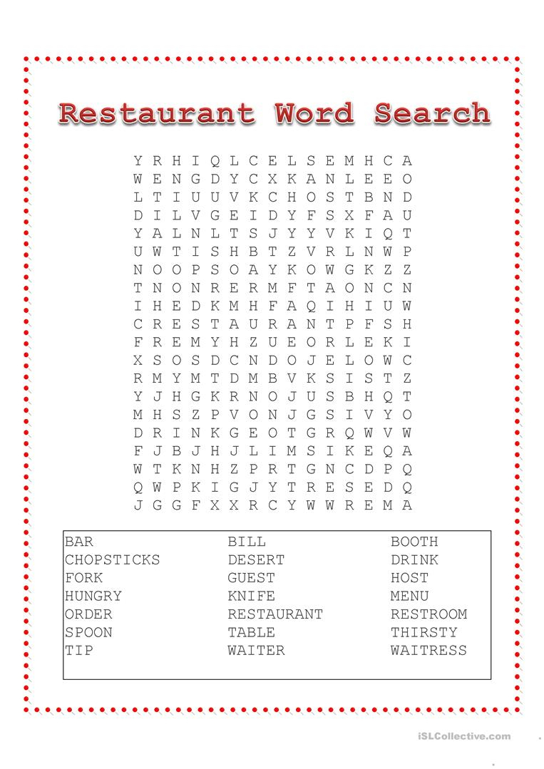 Restaurant Word Search - English Esl Worksheets For Distance