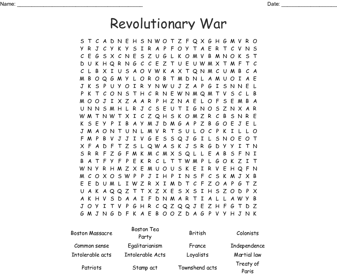 Revolutionary War Word Search - Wordmint