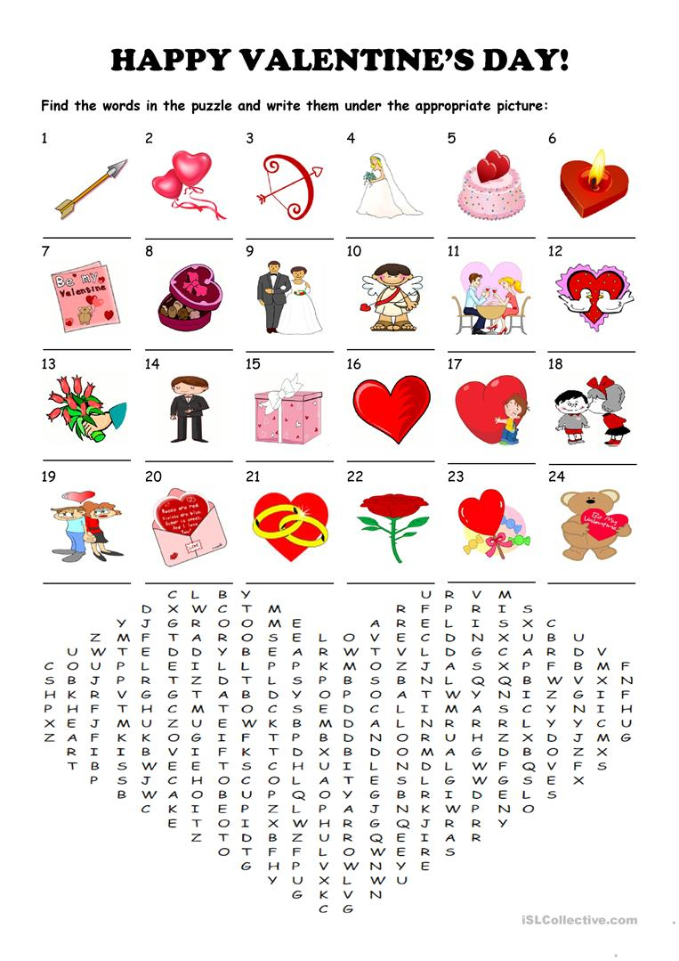 Saint Valentine's Day - Word Search Puzzle - English Esl