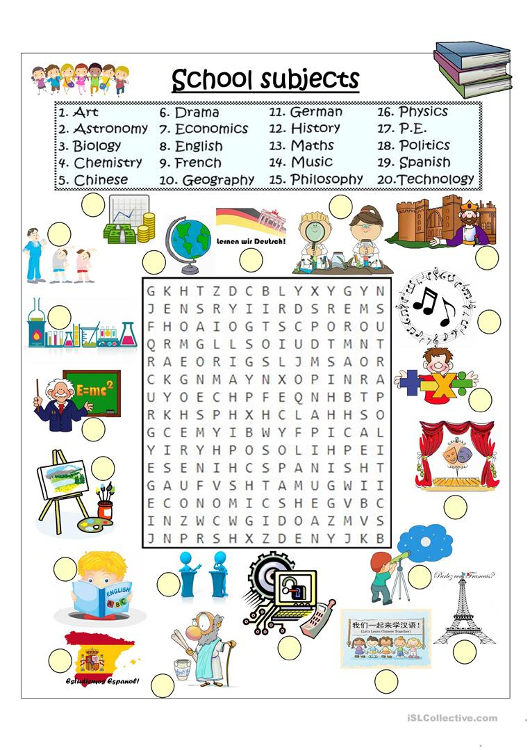 School Subjects Word Search - English Esl Worksheets For