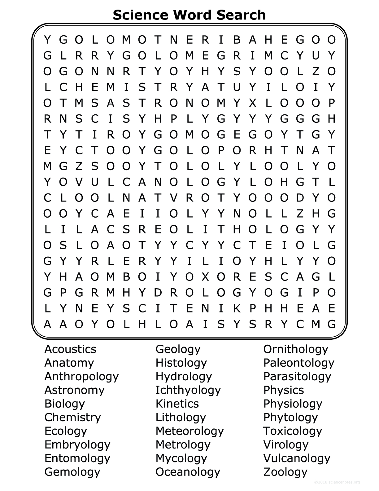Science Disciplines Word Search
