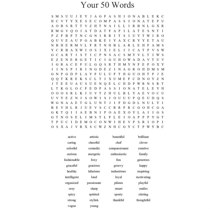 Inspirational Word Search Printable